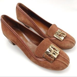 Authentic Tory Burch Tan & Gold Howie Pumps Size 7